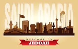 Stadtskyline-Vektorschattenbild Dschiddas Saudi-Arabien stock abbildung