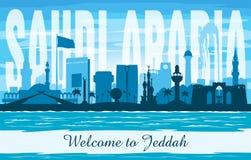 Stadtskyline-Vektorschattenbild Dschiddas Saudi-Arabien vektor abbildung