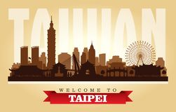 Stadtskyline-Vektorschattenbild Taipehs Taiwan lizenzfreie abbildung