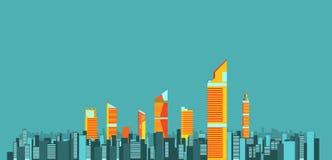 Stadtskylinehintergrund-Vektorillustration flaches Stadtgebäude Stockfotografie