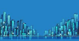 Stadtskylinepanorama nachts, Hand gezeichnetes Stadtbild, Vektorzeichnungs-Architekturillustration Stockfotos