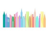 Stadtskylineschattenbildmehrfarbenvektorillustration Stockfotografie