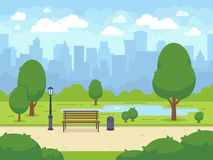 Stadtsommerpark mit grünen Bäumen setzen, Gehweg und Laterne auf die Bank Katze entweicht auf ein Dach vom Ausländer vektor abbildung