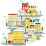 Stadtstädtischer Weihnachtswinter-Landschaftshintergrund Lizenzfreies Stockfoto