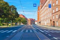 Stadtstraße in Helsinki, Finnland lizenzfreie stockfotografie