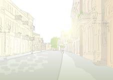 Stadtstraße am Mittag stock abbildung