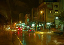 Stadtstraße nachts stock abbildung