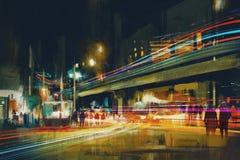 Stadtstraße nachts lizenzfreie abbildung