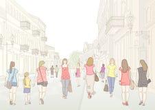 Stadtstraße und -fußgänger vektor abbildung