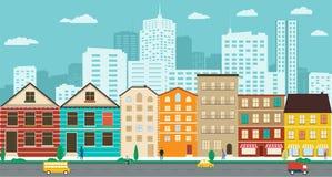 Stadtstraßen mit Ansichten der Wolkenkratzer in einem flachen Design vektor abbildung