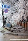 Stadtstraßen nachdem dem Einfrieren. stockfoto