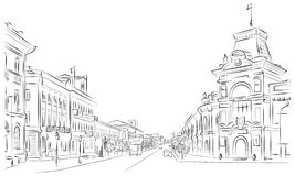 Stadtstraßen und historische Gebäude Stockbild