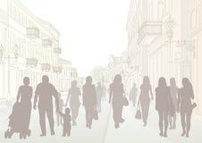 Stadtstraßen- und -leuteschattenbilder vektor abbildung
