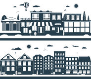 Stadtstraßen in der Dunkelheit und in den Weißfarben Stockbild