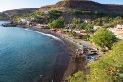 Stadtstrand Vogelperspektive Cidade Velha in Santiago - Kap-Verde - Cabo Verde lizenzfreie stockfotografie