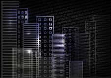 Stadtszene auf Nachtzeit cityscape Belichtete Wolkenkratzer auf einem schwarzen Hintergrund Blaue weiße schwarze Farbe Lizenzfreie Stockfotos