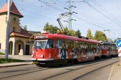 Stadttrams in Liberec - Elektro-Mobil Lizenzfreies Stockfoto