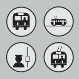 Stadttransport: Bus-, Tram-, Oberleitungsbus- und Leiterikonen und Stockfotos