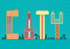 Stadttypographie Abbildung Stockbilder