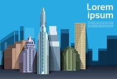 Stadtwolkenkratzeransicht-Naturverschmutzung über dem Stadtbildhintergrundskyline-Kopienraum flach Lizenzfreies Stockbild