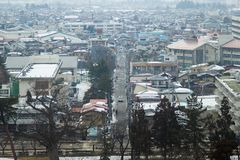 Stadtzentrum in am 28. Februar 2014 herein Fukushima, Japan Lizenzfreie Stockbilder