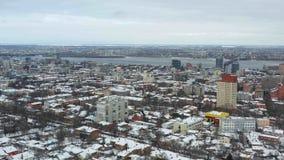 Stadtzentrum von Dnipro-Stadt am Winter stock video