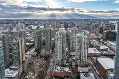 Stadtzentrum von einer Großstadt Scyscrapers, Highrises von der Luft Stockbilder