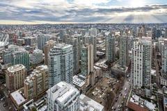 Stadtzentrum von einer Großstadt Scyscrapers, Highrises von der Luft Lizenzfreies Stockfoto
