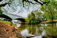 Stadtzentrum von Greenville South Carolina um Fallpark Stockfotografie