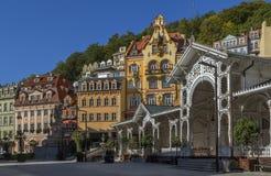 Stadtzentrum von Karlovy Vary, Tschechische Republik lizenzfreie stockfotografie