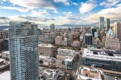 Stadtzentrum von Vancouver kanada Schattenbild des kauernden Geschäftsmannes Lizenzfreie Stockbilder