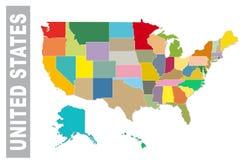 Staes unidos coloridos administrativos e mapa político do vetor ilustração stock