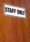 Staff only. Signage on a wooden door Stock Photo