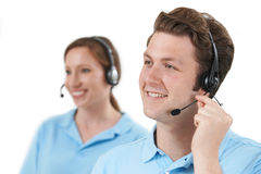 Staff Answering Calls In Customer Service Department Stock Images