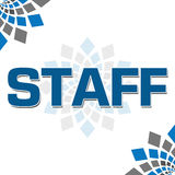 Staff Blue Grey Square Elements Square. Staff word written over white background with blue grey graphical elements Royalty Free Stock Image
