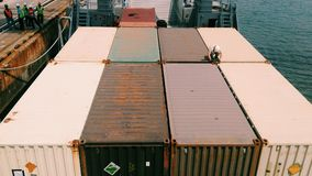 Staff checking container boxes for export-import logistic. Staff checking container boxes for export-import logistic at an commercial port stock photo