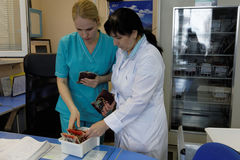 Staff collect the blood in the blood bank Royalty Free Stock Image