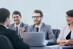 Manager communicates with the client in the office Stock Photos