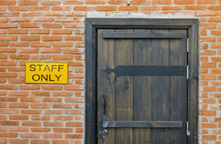 Staff only - do not enter (closeup) Royalty Free Stock Image