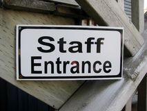 Staff Entrance sign. Outside of the building Stock Images