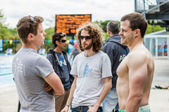 Staff and Freedivers Talking before the Competition Royalty Free Stock Images