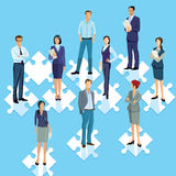 Staff group puzzle connecting. Illustration stock illustration
