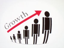 Staff Growth illustration (employment growth). Close up view of an Illustration that represents the staff growth  treated with an effect of glass Stock Photos
