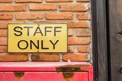 staff only on license plate Stock Photo