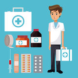 Staff medical man suitcase first aid with medicine icons. Vector illustration eps 10 Royalty Free Stock Image