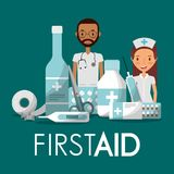 Staff medical man woman first aid with medicine icons. Vector illustration Royalty Free Stock Photography