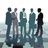 Staff meeting. Illustration of smartly dressed businessmen in suits, white shirt and tie standing together conversing on chess board style squares, white stock illustration