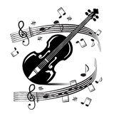 Staff and Notes with Violin. Vector. Stock Image