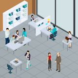 Staff At Office Isometric Illustration stock illustration