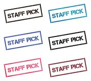 Staff pick rectangular stamp collection. Textured seals with text isolated on white backgound. Stamps in turquoise, red, blue, black and sepia colors stock illustration